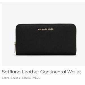MK saffiano leather extra-large continental wallet